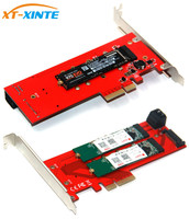 3 Interfaces M.2 NVMe SSD NGFF to PCIE X16 Adapter M Key 2x B Key Riser Card Expansion Card Support PCI Express 3.0 4X M2 SATA