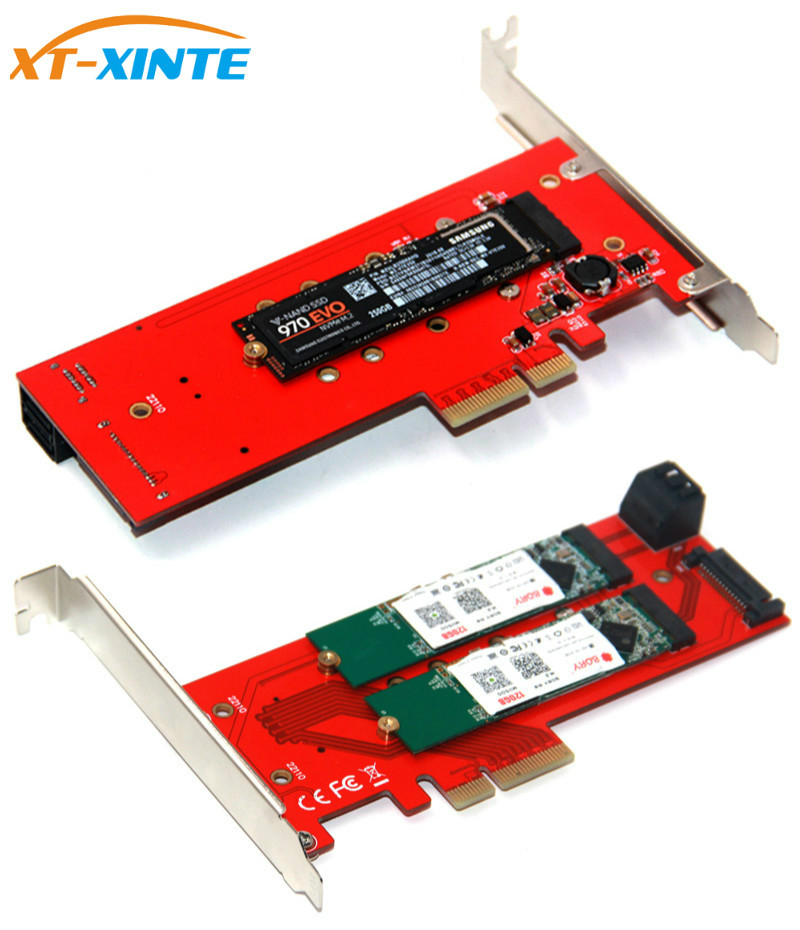 3 Interfaces <font><b>M.2</b></font> <font><b>NVMe</b></font> SSD NGFF <font><b>to</b></font> <font><b>PCIE</b></font> X16 <font><b>Adapter</b></font> M Key 2x B Key Riser Card Expansion Card Support PCI Express 3.0 4X <font><b>M2</b></font> SATA image