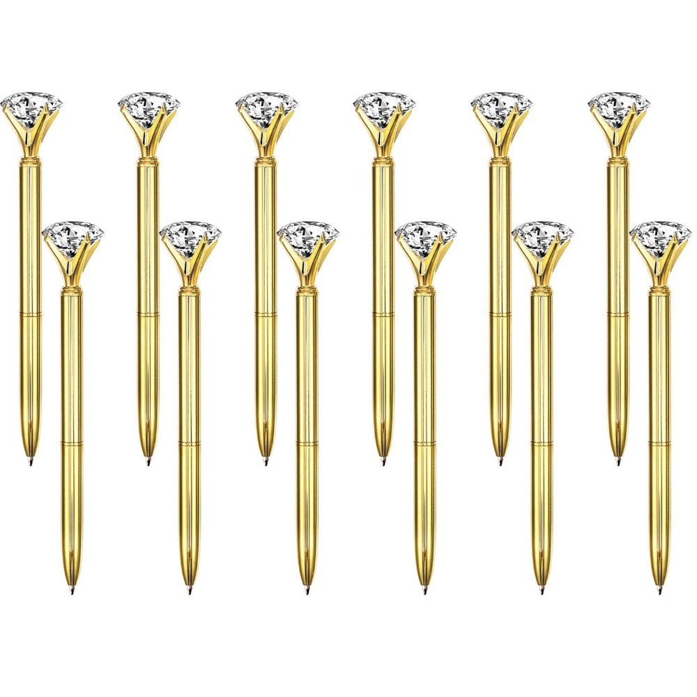 500Pcs Lot Real Metal Big Diamond Ball Point Pen High Quality Fashion Business Pen Promotion School