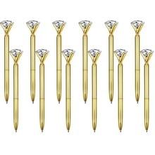 500 ピース/ロット本物の金属ビッグダイヤモンドボールペン高品質のファッションビジネスペンプロモーション学校文房具ギフト rystal ペン