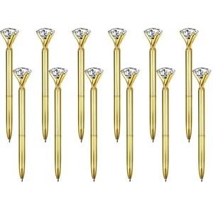 Image 1 - 500Pcs/Lot Real Metal Big Diamond Ball Point Pen High Quality Fashion Business Pen Promotion School Stationery Gift  rystal Pen