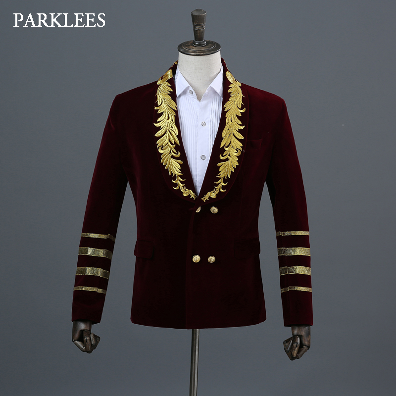 Stylish Floral Embroidery Blazer Men Loose Striped Double Breasted Mens Red Suits Party Prom Show Stage Singer DJ Jackets Homme