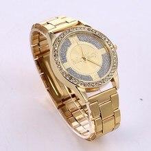Top Brand Gold Rhinestone Luxury Quartz watch Women high quality stainless steel band Analog watches dress Wristwatch Clock