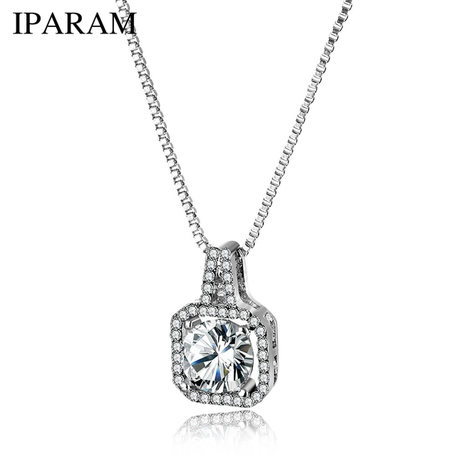 9d9b5bee911 IPARAM Fashion Lady Crystal Zircon Pendant Necklace 2019 Bohemian Geometric  Wedding Necklace Silver Jewelry Party Gift