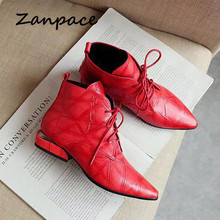 Zanpace Women Boots Fashion Ankle Boots for Women Pointed Toe Lace-Up Womens