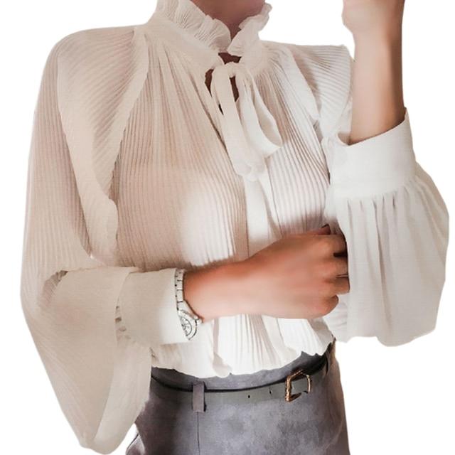 11efec86fec Элегантные офисные женские шифоновые блузки с отложным воротником ...