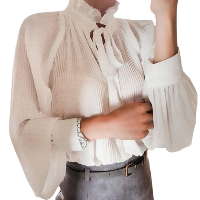 56049ec40e Elegant Office Ladies Ruffled Turn-Down Collar Chiffon Blouses Women Tops  Bows Pleated Chiffon Shirt White Women Vintage Shirts