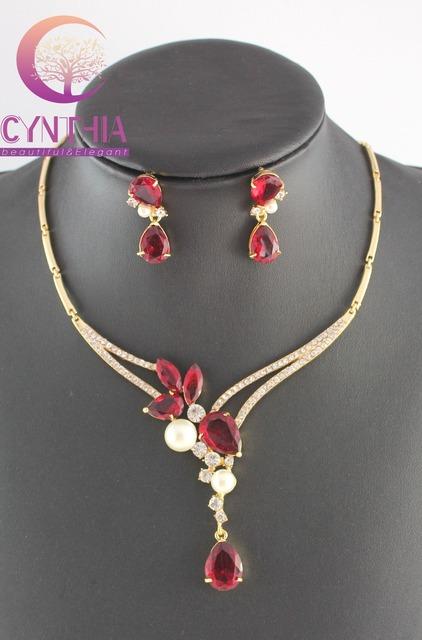 Simulado blanco perla Rojo/Púrpura/Azul Circón Cristal Plateado del Oro Collar Pendientes Joyería de la Boda