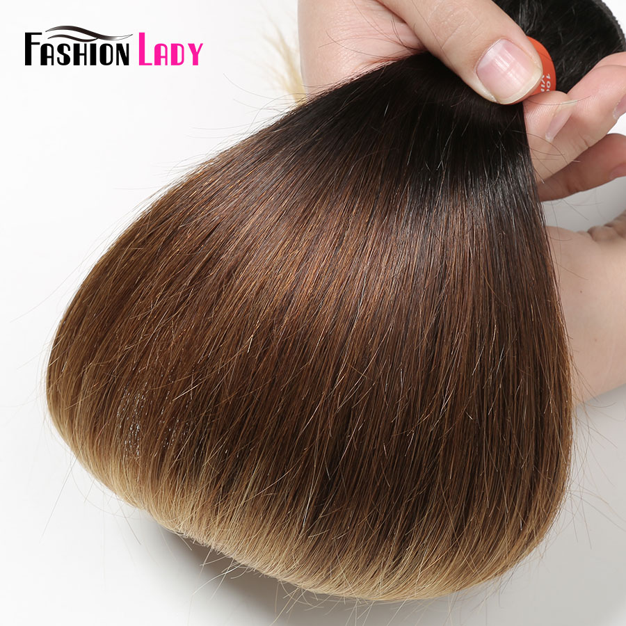 Image 4 - FASHION LADY Pre Colored Brazilian Hair Weave Bundles Ombre 1b/4/27 Straight Bundles Human Hair 1/3/4 Bundle Per Pack Non Remy-in Hair Weaves from Hair Extensions & Wigs