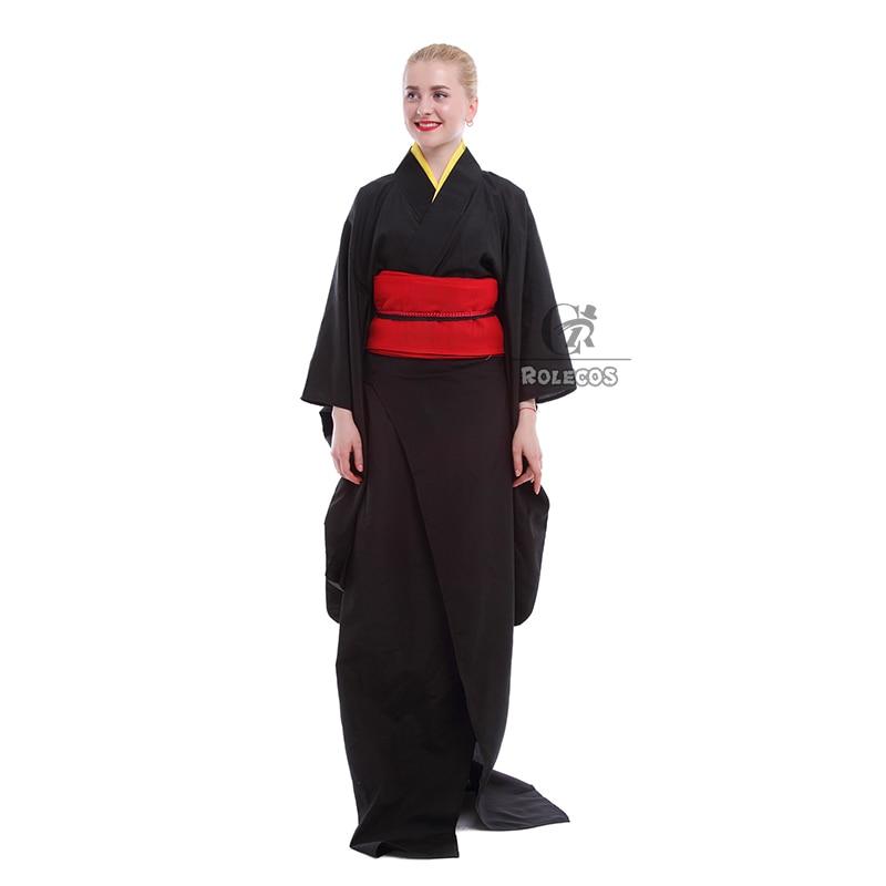 Rolecos Japanese Kimono Women Traditional Black Yukata Cosplay - Pakaian kebangsaan - Foto 2