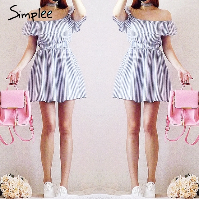 Simplee Off shoulder ruffle striped summer dress Casual hollow out backless short dress robe Women beach sexy dress vestidos