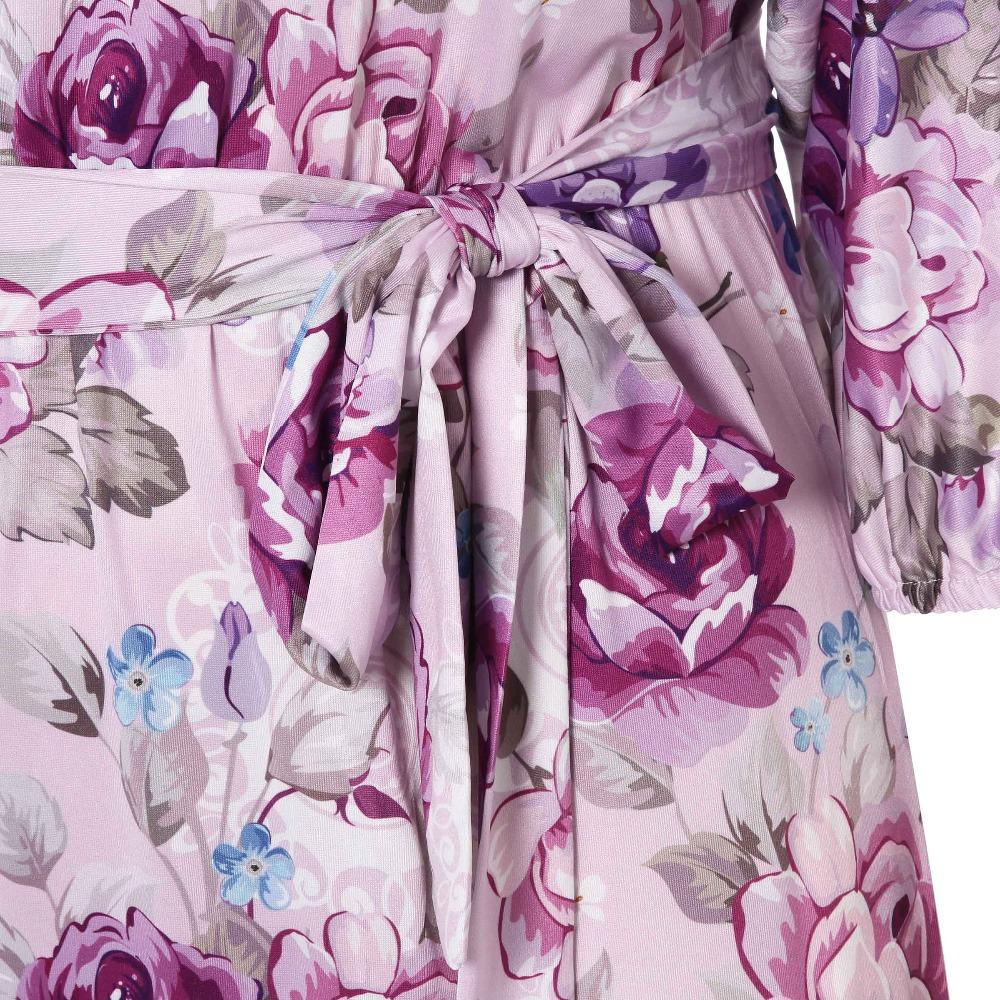 8c418a5379aef Sisjuly Purple Pink Gray Vintage Bohemian Floral Maxi Dresses Women Belt  Flower Plus Size Loose Long Spring Summer Beach Dress
