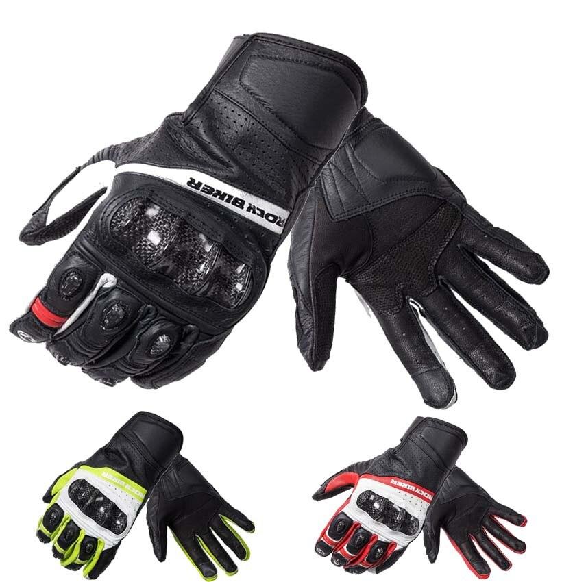 где купить 2017 New ROCK BIKER cross-country Leather motorcycle gloves carbon fiber motorbike gloves Moto riding locomotive glove Anti-fall по лучшей цене