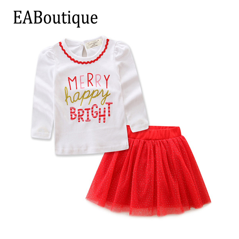 EABoutique Winter New Years Outfit Kids Girls Fashion Christmas outfit Letter printed with bling yarn tutu skirt 2 pcs set 2017 new summer style lovely ball gown skirt girls tutu skirt pettiskirt 7 colors girls skirts for 2 7 years old kids skirt