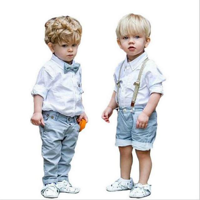 2016 New Baby Boys Clothing set Overalls Gentleman bow tie long-sleeved shirt+pants 2pcs Kids famous brand clothes Free shipping
