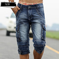 Summer New Arrival Men's Top Denim Shorts Water Wash Multi Pocket Casual Shorts Slim Straight Capris