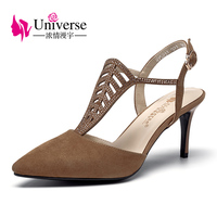 Universo magro sexy mulheres sandálias de salto alto cinta t dedo apontado estilo senhoras sandálias de couro genuíno sandálias sapatos G144