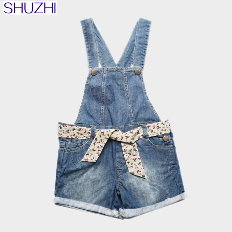 SHUZHI New 2017 Summer Girls Shorts Fashion Baby girl Denim Shorts Overalls Kids Denim Suspenders Shorts jumpersuits