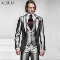 custom made silver light grey Groom Tuxedos Best man Suit Wedding Groomsman/Men Suits Bridegroom (Jacket+Pants+Tie+Vest)