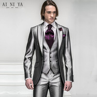 custom made silver light grey Groom Tuxedos Best man Suit Wedding Groomsman/Men Suits Bridegroom (Jacket+Pants+Tie+Vest)