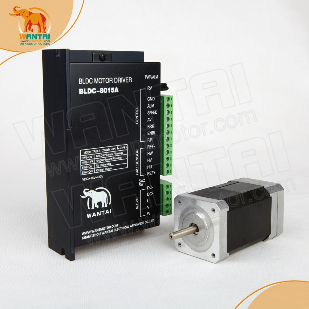 3D CNC Wantai Nema 17 Brushless DC Motor 4000RPM, 24VDC,26W,3phs 42BLF01& Driver BLDC-8015A, 80VDC,5000RPM Peak cnc dc spindle motor 500w 24v 0 629nm air cooling er11 brushless for diy pcb drilling new 1 year warranty free technical support