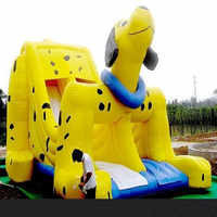 HOT!! Double chute  yellow dots dog inflatable slide for sale