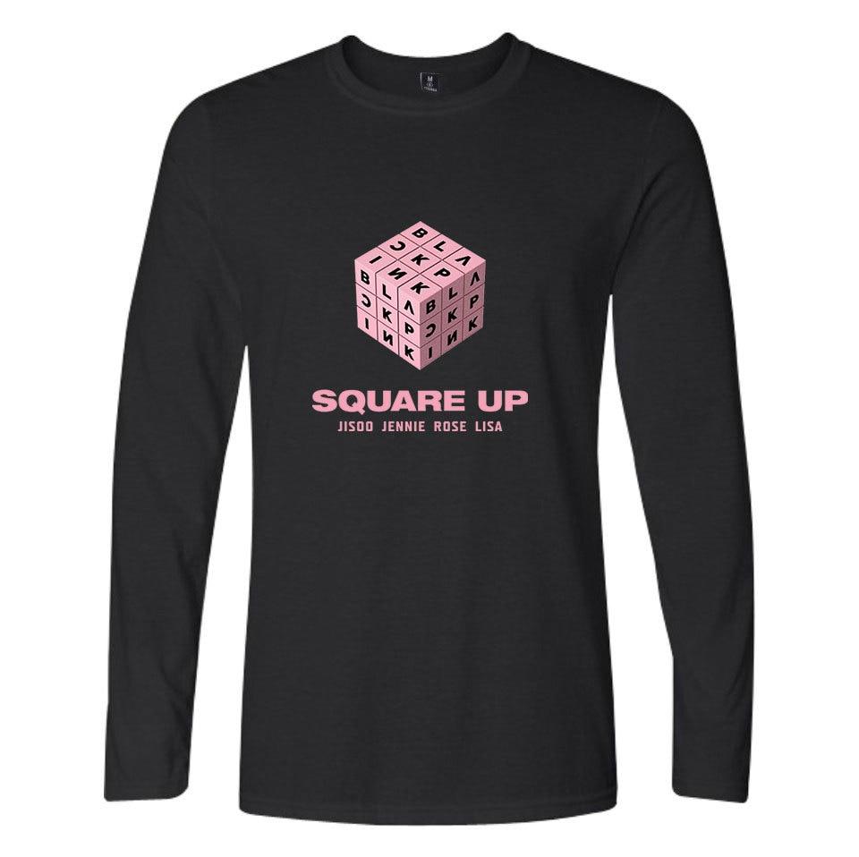 KPOP Blackpink Cotton T Shirt Women Black Pink O Neck full length long Sleeve T-shirt Couple Fan Support Harajuku Camisas 4XL