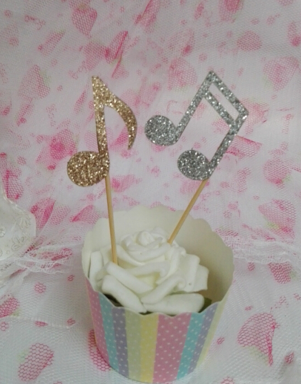 music notes glitter cupcake toppers baby bridal shower birthday treat food toothpicks musical wedding hem night party decoration in cake decorating supplies