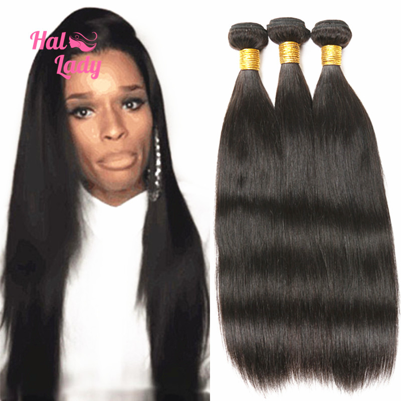 "7A Brazilian Hair Weaves Halo Lady Unprocessed Human Hair 10""-30"" Brazilian Virgin Hair Straight 3 Bundles Malibu Dollface Hair"