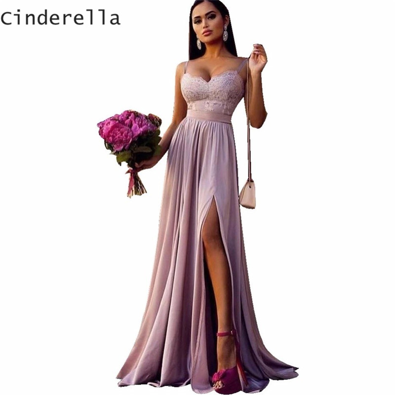 Cinderella Spaghetti Straps Lace Applique Chiffon Bridesmaid Gown Soft Fabric Floor Length Sexy Lace Bridesmaid Dresses Cheap