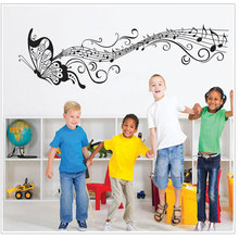 Black music butterfly wall decoration staff decals vinyl home room children detachable YY24