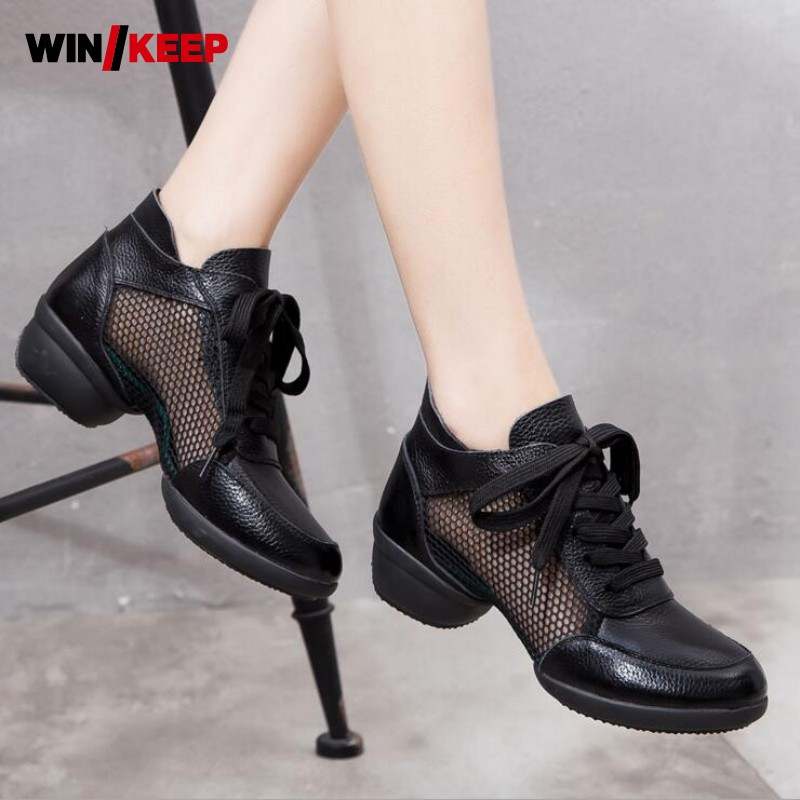 2017 New Arrival Dance Shoes Woman Lace Up Genuine Leather For Woman Hip Hop Dancing Shoes Latin Jazz Shoes Free Shipping Black fenix hl23 gold