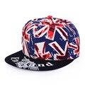 Moda REINO UNIDO Bandeira Snapback Chapéu Cap Hop Chapéus Bonés de Beisebol da Bandeira Britânica Inglaterra Inglês Gorra Plana Ossos Aba Reta