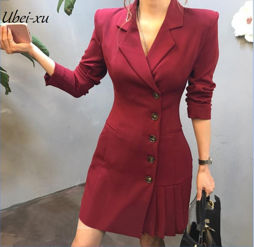 Ubei Single breasted pleated slim short dress long sleeve small black blazer jacket dress women OL