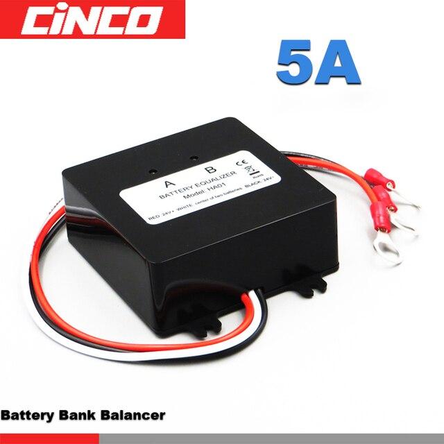 HA01 Solar System Battery Balancer Battery Equalizer Charger Controller for 2*12V Lead Acid Battery Bank System Black
