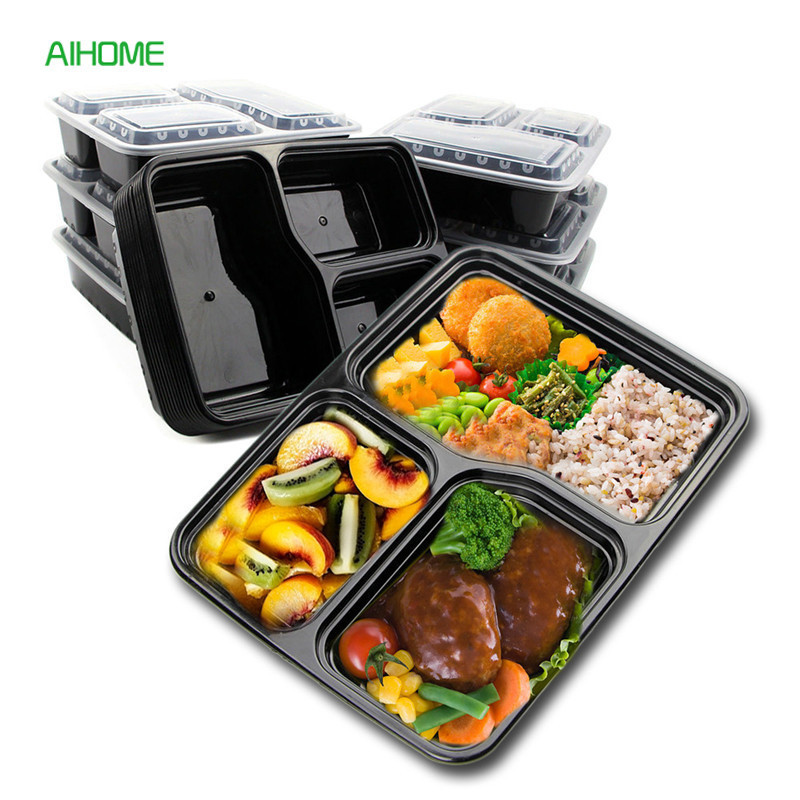 10pcs black rectangular disposable food container lunch bento box snack packing boxes microwave. Black Bedroom Furniture Sets. Home Design Ideas