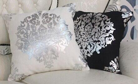 Divano Nero Cuscini : Cuscino del divano di moda cuscino fluido fiore dargento in bianco