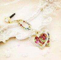 Fashion Style Color Diamond Series Heart-shaped Design Mobile Phone Ear Cap Dust Plug For Iphone Samsung 3.5mm Dust Plug