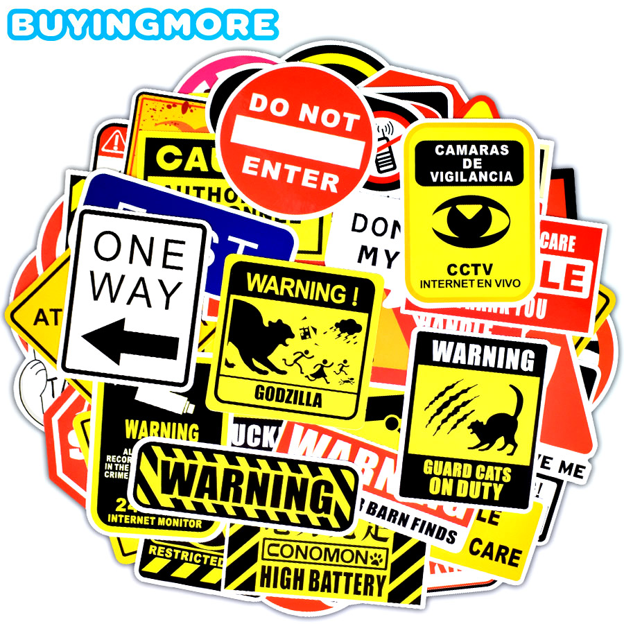 50 PCS Warning Sticker Reminder Danger Ban Signs Waterproof Decals Stickers To DIY Laptop Fridge Suitcase Snowboard Car Guitar