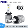 Partol S3 Led H4 H7 Led Headlight Bulbs Work Lights DRL CSP 72W 6500K 8000Lm Car Led Headlamp Kit Auto Fog Light 12/24V