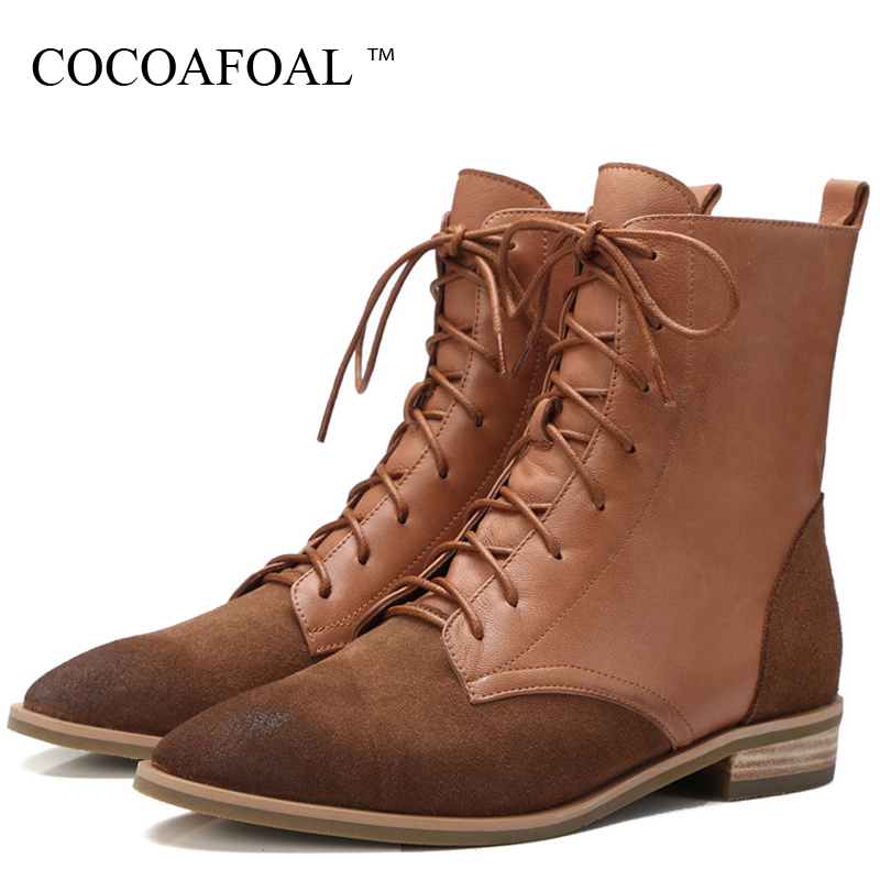 купить COCOAFOAL Woman Martin Boots Genuine Leather Lace Up Autumn Winter Shoes Red Women's Ankle Boots Genuine Leather Chelsea Boots недорого
