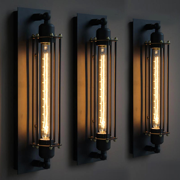 Sinfull vintage industrial edison wall lamps american wrought iron sinfull vintage industrial edison wall lamps american wrought iron long shape wall lights bedroom bar cafe wall sconce in wall lamps from lights lighting aloadofball Images