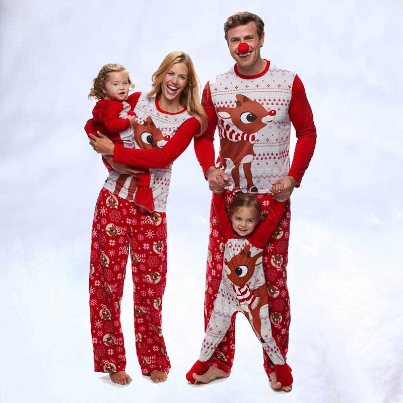 2019 Family Matching Outfits Xmas Cartoon Christmas Pajamas Set Family Clothing Deer Mother Father Kid Family Set