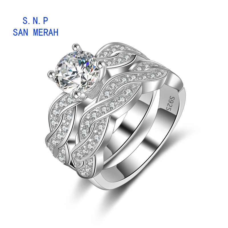 two piece set Engagement and wedding Rings Sets For women charms