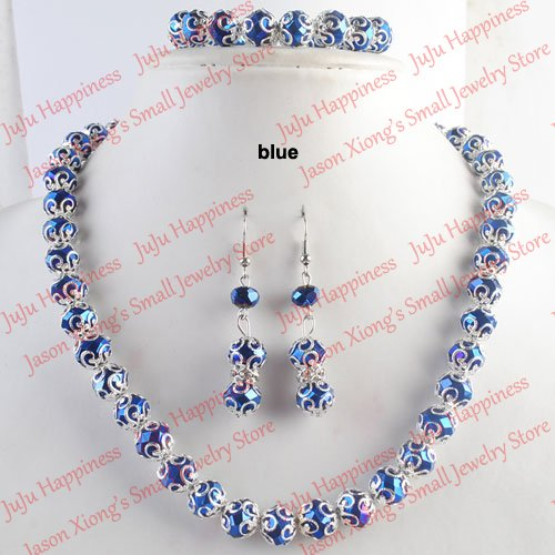 one set Handmade Blue Crystal Glass Beads Jewelry Set Necklace,Earring and Bracelet 235 все цены