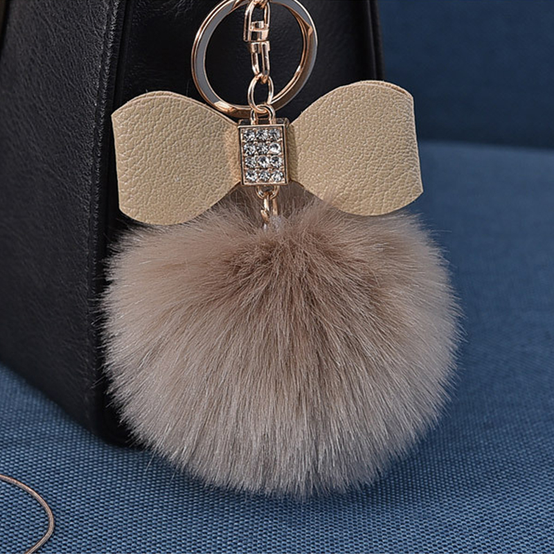 Pompom Women Trinkets Leather Bow Rhinestone Keychain Charm Pompon Keyring Fluffy Faux Rabbit Fur Ball Key Chains For Car Bag