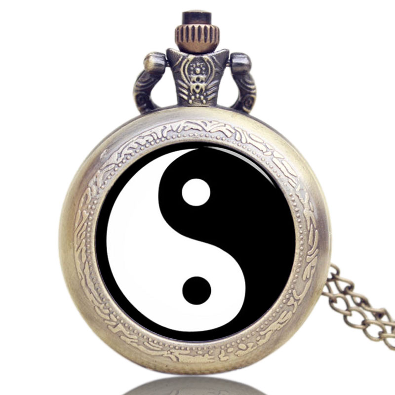 New Chinese Taoism Tai Chi Logo Bronze Quartz With Necklace Chain