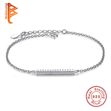 Original 925 Sterling Silver European Charm Bracelet Austrian Crystal Beads Bracelets for Women Authentic Wedding Jewelry YS1013