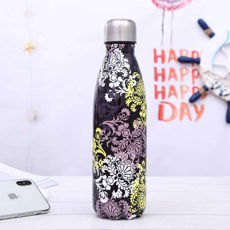 Cola Bottle Vacuum Flasks Thermos Mug 500ML Stainless Steel Drinking Water Bottle Cute Outdoor Sports Bottle Flower Pattern