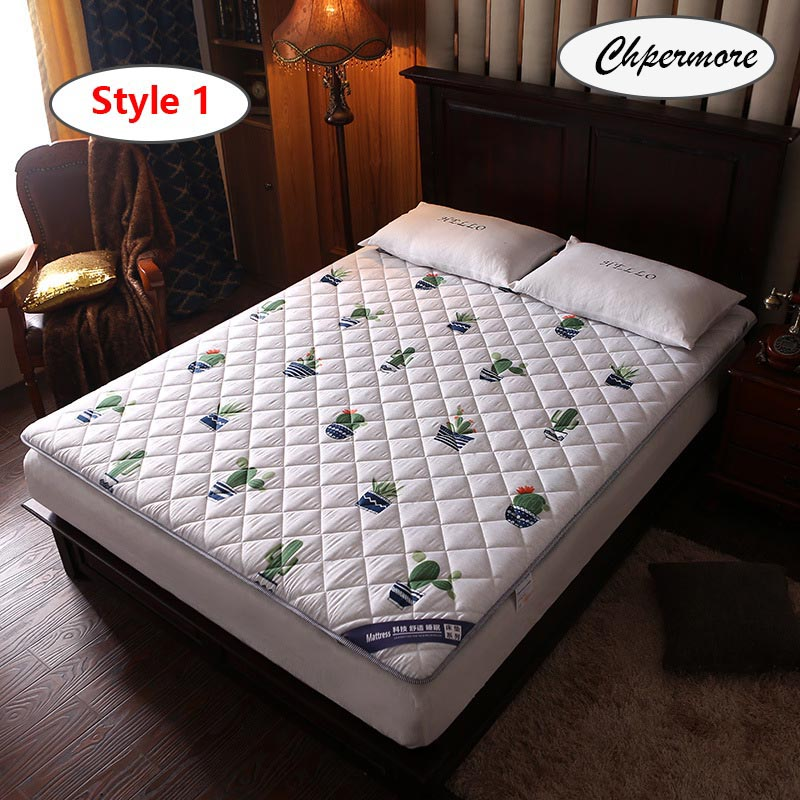 Chpermore Sanding Print Thicken Mattresses Keep Warm Foldable Tatami 100% Cotton Mattress Cover For Family Bedspreads King Size
